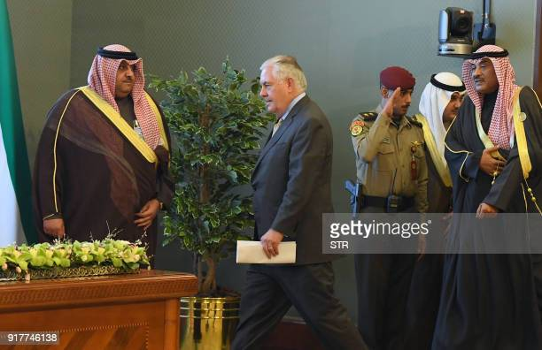 US Secretary of State Rex Tillerson and Kuwaiti Foreign Minister Sheikh Sabah alKhaled alSabah ariive to give a press conference on the sidelines of...