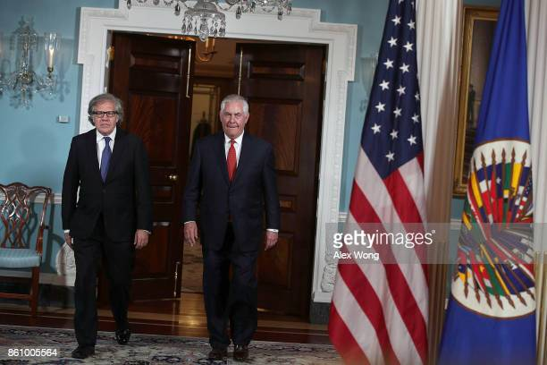 S Secretary of State Rex Tillerson and Organization of American States Secretary General Luis Almagro walk towards cameras at the State Department...