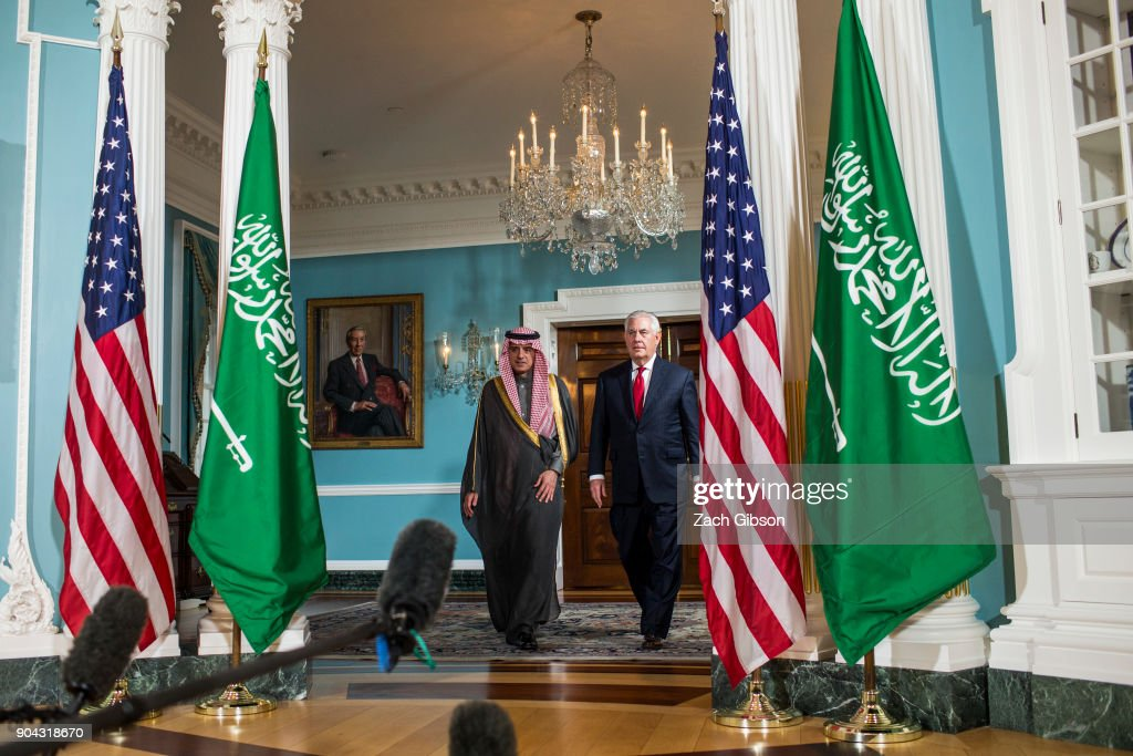U.S. Secretary of State Rex Tillerson (R) and Saudi Arabian Foreign Minister Adel al-Jubeir arrive at a press event at the State Department on January 12, 2018 in Washington, DC.