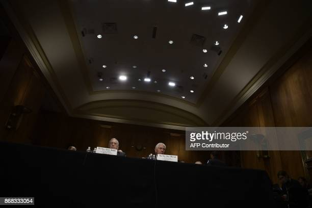 US Secretary of State Rex Tillerson and US Defense Secretary James Mattis wait to testify at a full committee hearing on 'The Authorizations for the...