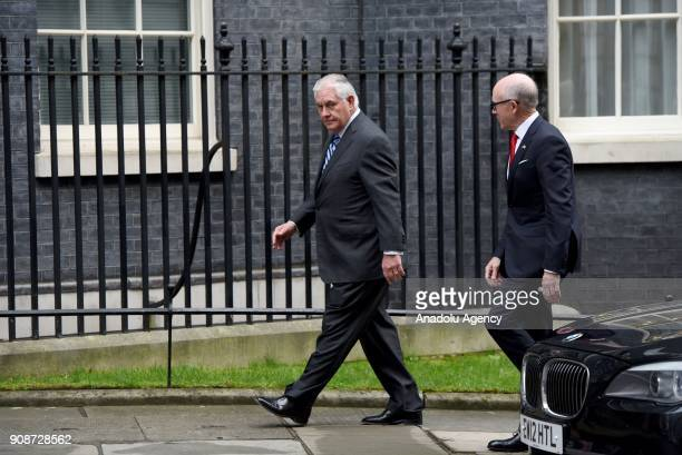 S Secretary of State Rex Tillerson arrives at Downing Street in London for a meeting on January 22 2018 US Secretary of State Rex Tillerson paid a...