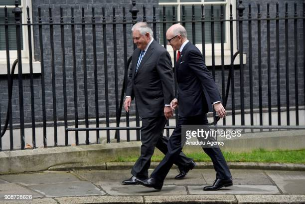 Secretary of State Rex Tillerson arrives at Downing Street in London for a meeting on January 22 2018 US Secretary of State Rex Tillerson paid a...