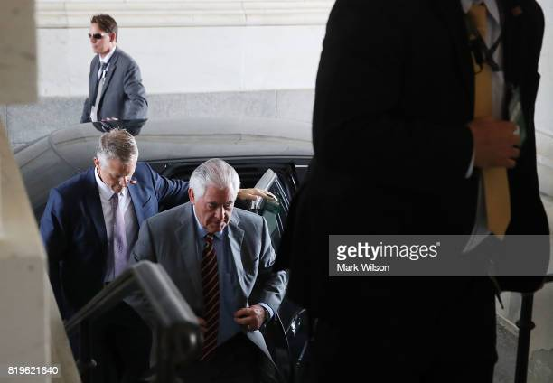 S Secretary of State Rex Tillerson arrives at the Capitol to join Secretary of Defense Jim Mattis in briefing House members on the situation with...