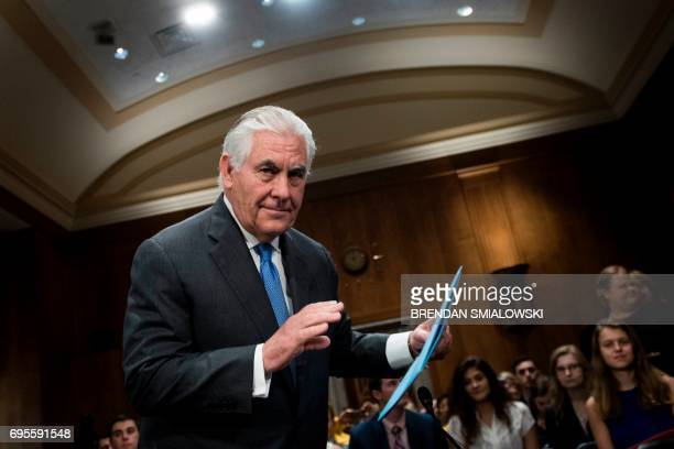 US Secretary of State Rex Tillerson arrives for a hearing of the Senate Foreign Relations Committee on Capitol Hill June 13 2017 in Washington DC /...