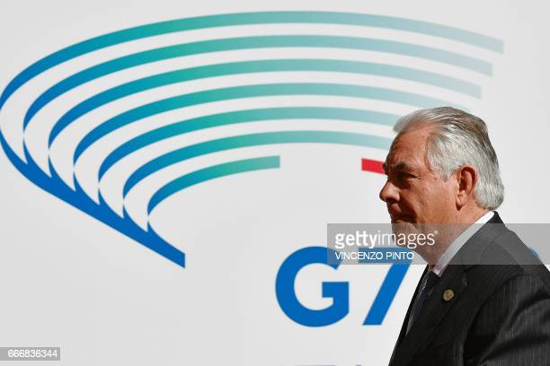 US Secretary of State Rex Tillerson arrives for a meeting of Foreign Affairs Ministers from the Group of Seven industrialised countries on April 10...