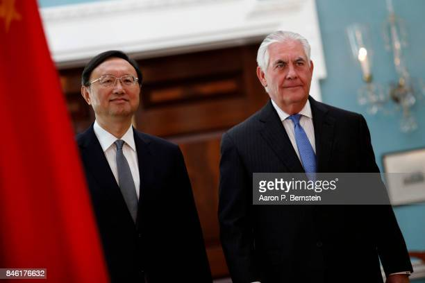 US Secretary of State Rex Tillerson arrives for a photo opportunity with Chinese State Councilor Yang Jiechi at the State Department September 12...