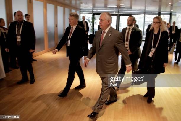 Secretary of State Rex Tillerson arrives for the Foreign Minister Meeting for Syria at the World Conference Center Bonn on February 17 2017 in Bonn...