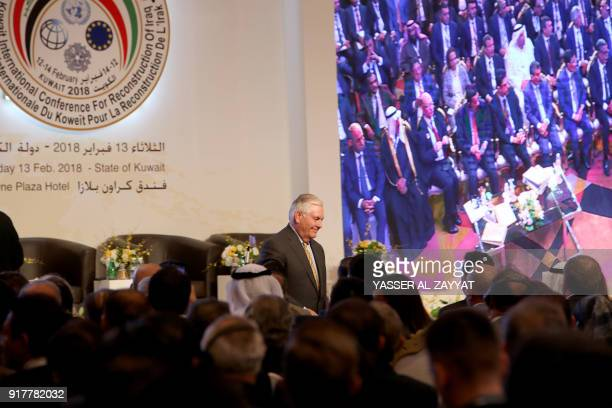 US Secretary of State Rex Tillerson arrives to attend the Kuwait International Conference for Reconstruction of Iraq in Kuwait City on February 13...