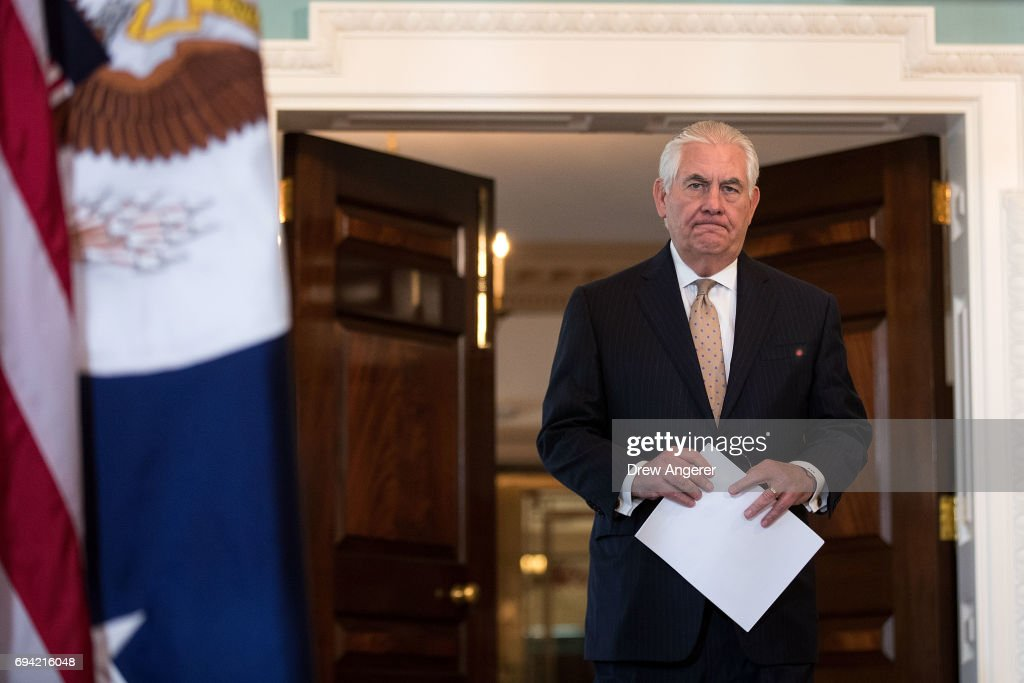 Secretary Of State Rex Tillerson Calls On Mideast Countries To Ease Blockade On Qatar : News Photo