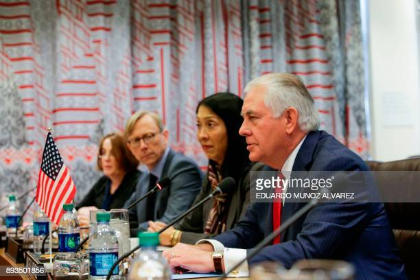 US Secretary of State Rex Tillerson attends a meeting with Japanese Foreign Minister Taro Kono before the UN Security Council Ministerial Briefing on...