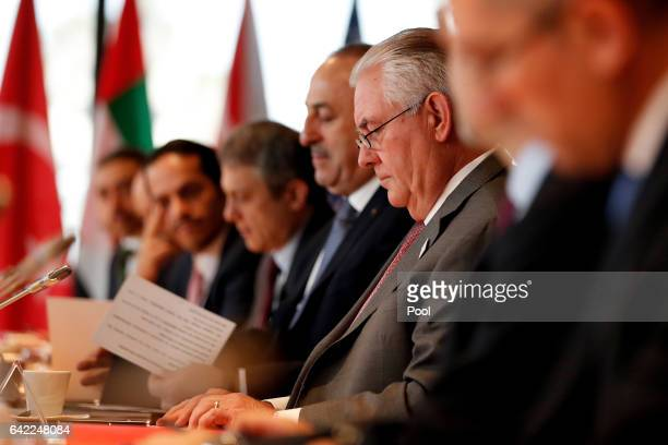Secretary of State Rex Tillerson attends the Foreign Minister Meeting for Syria at the World Conference Center Bonn on February 17 2017 in Bonn...