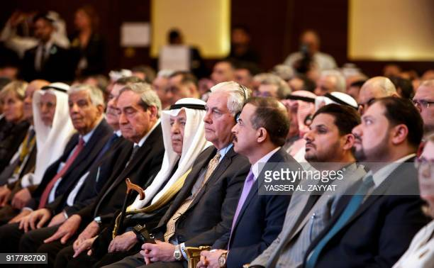 US Secretary of State Rex Tillerson attends the Kuwait International Conference for Reconstruction of Iraq in Kuwait City on February 13 2018 / AFP...