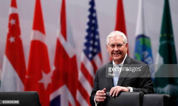 Secretary of State Rex Tillerson attends the opening session at the World Conference Center Bonn on February 16 2017 in Bonn Germany The G20 foreign...
