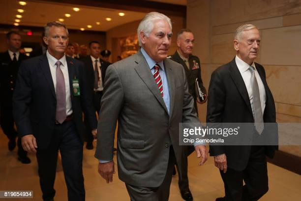 S Secretary of State Rex Tillerson Defense Secretary James Mattis and Chairman of the Joint Chiefs of Staff Gen Joseph Dunford arrive to brief...