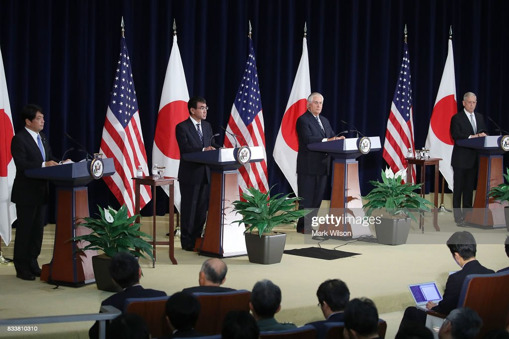 Secretary of State Rex Tillerson (2ndR), Defense Secretary Jim Mattis (R), stand with Japanese Foreign Minister Taro Kono (2ndL) and Defense Minister Itsunori Onodera (L), answer questions from the media after a meeting of the U.S.-Japan Security Consultative Committee at the State Department, on August 17, 2017 in Washington, DC.