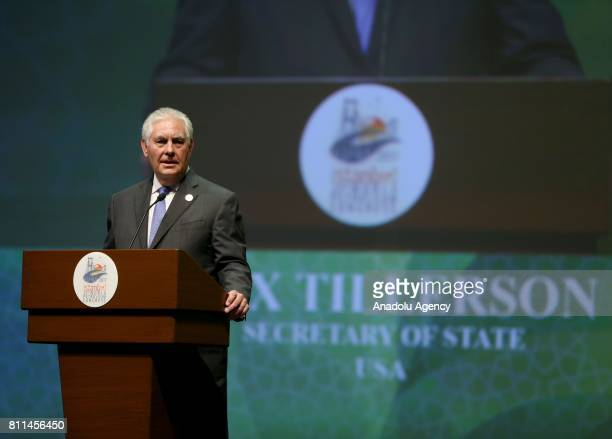 Secretary of State Rex Tillerson delivers a speech during the Dewhurst Award Ceremony within the 22nd World Petroleum Congress at the Istanbul...