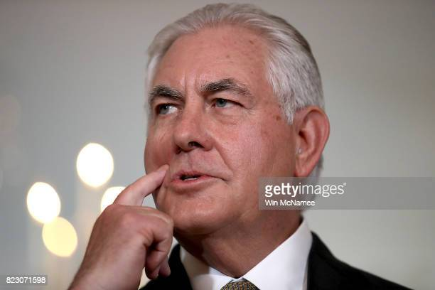 S Secretary of State Rex Tillerson delivers remarks while meeting with Lebanese Prime Minister Saad Hariri at the State Department July 26 2017 in...