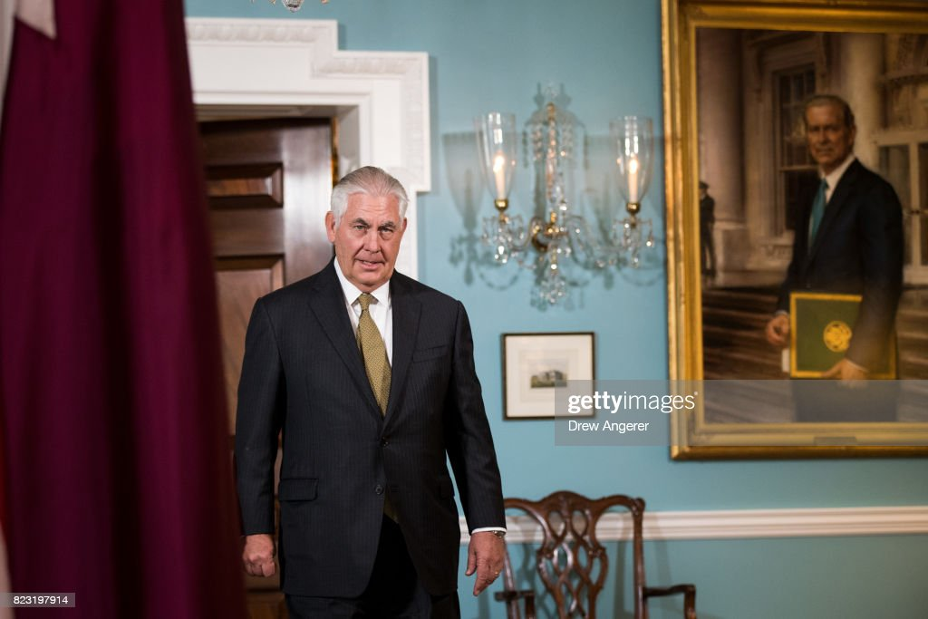 Secretary Of State Rex Tillerson Meets With Qatari Foreign Minister Sheikh Mohammed Bin Abdulrahman Al Thani At The State Dept.