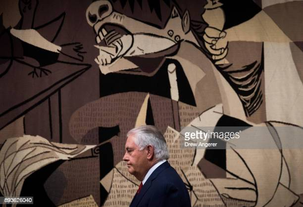 S Secretary of State Rex Tillerson exits after speaking to reporters following a United Nations Security Council meeting concerning North Korea's...