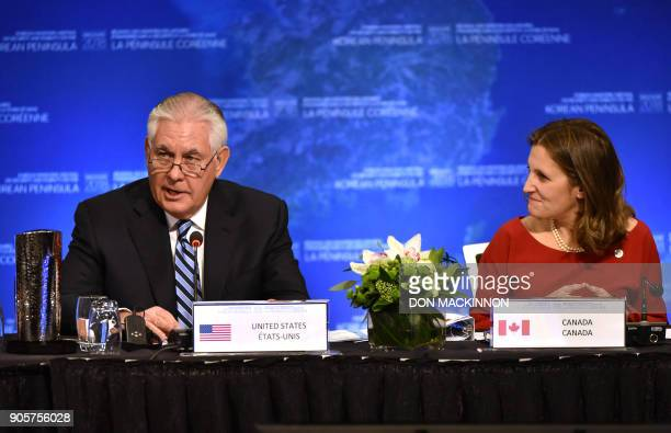 US Secretary of State Rex Tillerson gives his opening remarks as Canadian Foreign Minister Chrystia Freeland listens at the Vancouver Foreign...