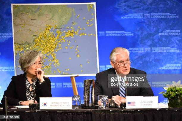 US Secretary of State Rex Tillerson gives his opening remarks as South Korean Foreign Minister Kang Kyungwha listens at the Vancouver Foreign...