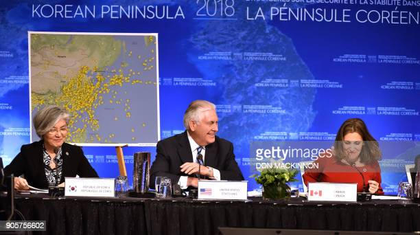 US Secretary of State Rex Tillerson gives his opening remarks as South Korean Foreign Minister Kang Kyungwha and Canadian Foreign Minister Chrystia...