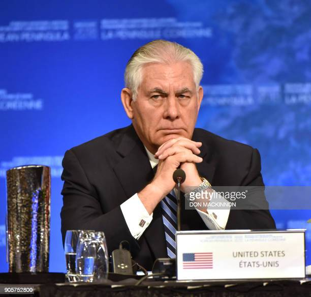 US Secretary of State Rex Tillerson gives his opening remarks at the Vancouver Foreign Ministers Meeting on Security and Stability on the Korean...