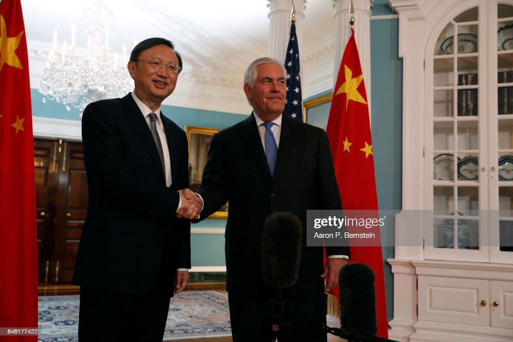 U.S. Secretary of State Rex Tillerson greets Chinese State Councilor Yang Jiechi at the State Department September 12, 2017 in Washington, DC. Tillerson and Jiechi are meeting amid heightened tensions surrounding North Korea's nuclear weapons program.
