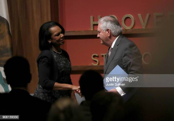 S Secretary of State Rex Tillerson greets former US Secreatry of State Condoleezza Rice as he speaks to the Hoover Institution and the Freeman Spogli...