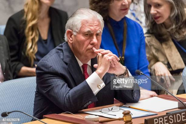 Secretary of State Rex Tillerson is seen during the Security Council meeting. The United Nations Security Council convened a ministerial-level...