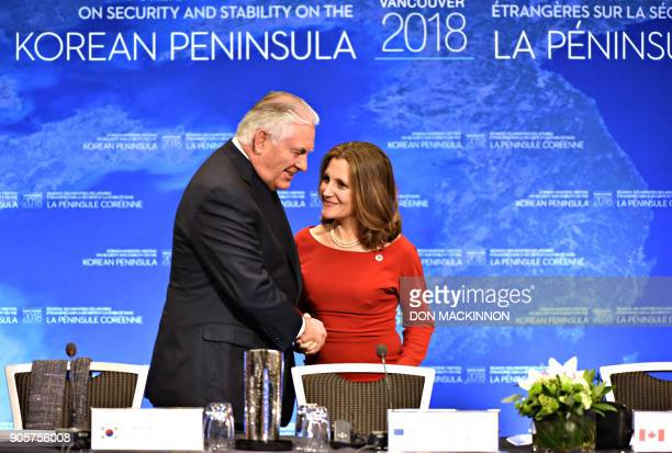 US Secretary of State Rex Tillerson is welcomed by Canadian Foreign Minister Chrystia Freeland to the Vancouver Foreign Ministers Meeting on Security...
