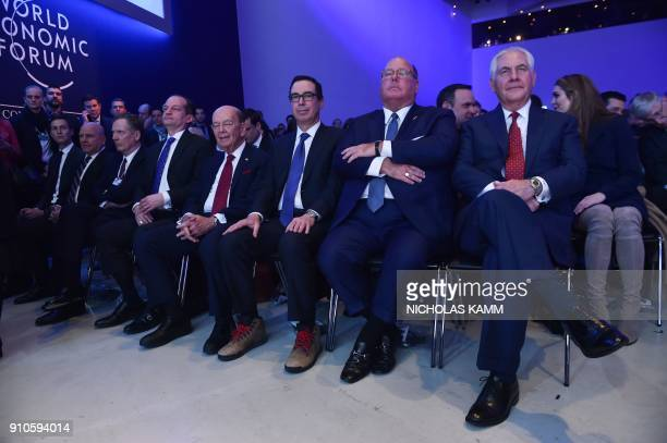 US Secretary of State Rex Tillerson Jared Kushner soninlaw and senior adviser to the US president and other delegation members listen as the US...