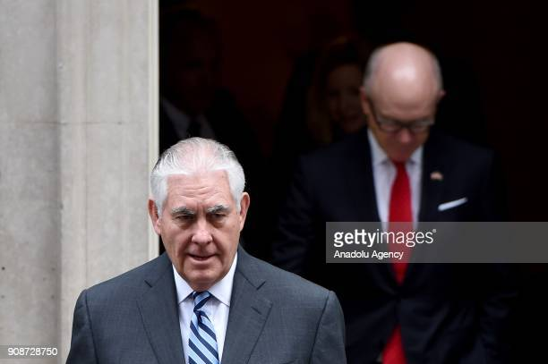 Secretary of State Rex Tillerson leaves Downing Street in London after a meeting on January 22 2018 US Secretary of State Rex Tillerson paid a...