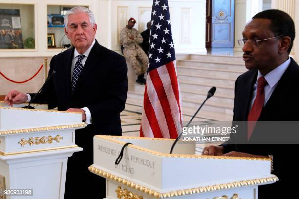 US Secretary of State Rex Tillerson looks on during a news conference with Chad's Foreign Minister Mahamat Zene Cherif in N'Djamena Chad on March 12...