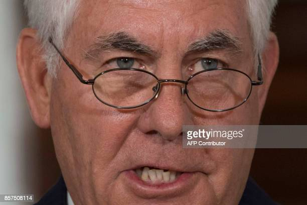 US Secretary of State Rex Tillerson makes a statement to the press at the State Department in Washington DC October 4 2017 Secretary of State Rex...