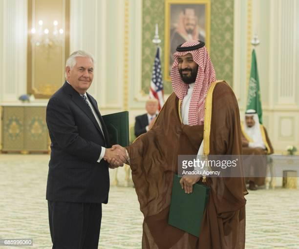 US Secretary of State Rex Tillerson meets Saudi defence minister and Deputy Crown Prince Mohammed bin Salman at AlYamamah Palace in Riyadh Saudi...