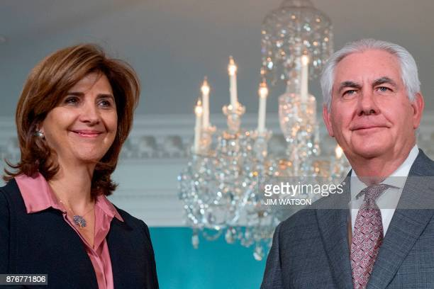US Secretary of State Rex Tillerson meets with Colombian Foreign Affairs Minister Maria Angela Holguin at the Department of State in Washington DC on...
