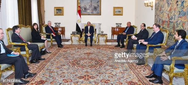 US Secretary of State Rex Tillerson meets with Egyptian President Abdel Fattah alSisi at Al Ittihadiyah Palace in Cairo Egypt on February 12 2018