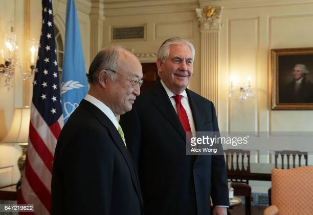 Secretary of State Rex Tillerson meets with International Atomic Energy Agency Director Yukiya Amano at the State Department March2, 2017 in...