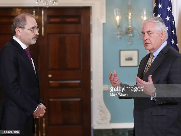 Secretary of State Rex Tillerson meets with Jordanian Foreign Minister Ayman Safadi at the State Department on January 18 2018 in Washington DC