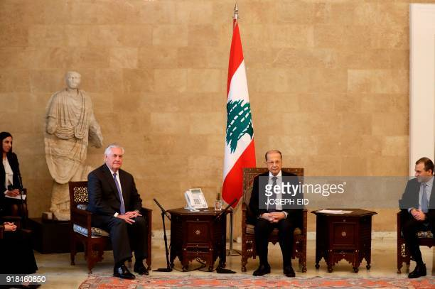 US Secretary of State Rex Tillerson meets with Lebanese President Michel Aoun and Foreign Minister Gebran Bassil at the presidential palace in Baadba...