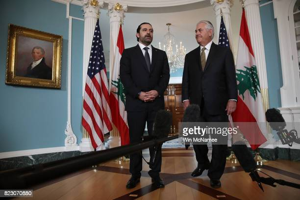 S Secretary of State Rex Tillerson meets with Lebanese Prime Minister Saad Hariri at the State Department July 26 2017 in Washington DC Tillerson and...