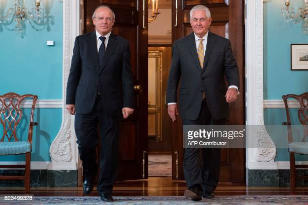 US Secretary of State Rex Tillerson meets with Portuguese Foreign Minister Augusto Santos Silva at the State Department in Washington DC on July 27...