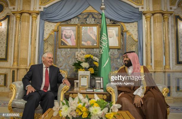 US Secretary of State Rex Tillerson meets with Saudi Crown Prince Mohammad bin Salman alSaud during his official visit in Jeddah Saudi Arabia on July...