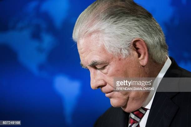 US Secretary of State Rex Tillerson pauses during a briefing at the Department of State on August 22 2017 in Washington DC US Secretary of State Rex...