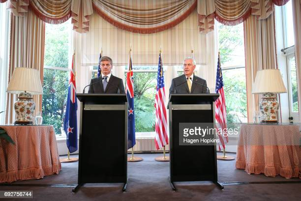 Secretary of State Rex Tillerson shakes hands with Prime Minister Bill English during a press conference at Premier House on June 6, 2017 in...