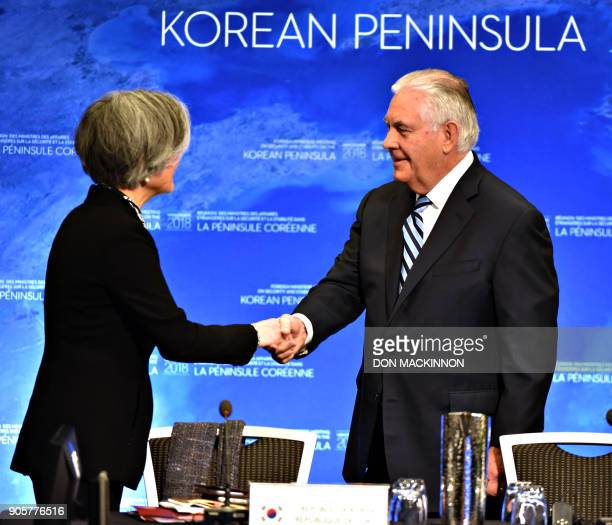 US Secretary of State Rex Tillerson shakes hands with South Korean Foreign Minister Kang Kyungwha at the Vancouver Foreign Ministers Meeting on...