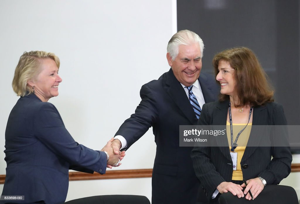 Secretary of State Rex Tillerson shakes hands with Susan Thornton (L), Principal Deputy Assistant Secretary during a meeting of the U.S.-Japan Security Consultative Committee at the State Department, on August 17, 2017 in Washington, DC.