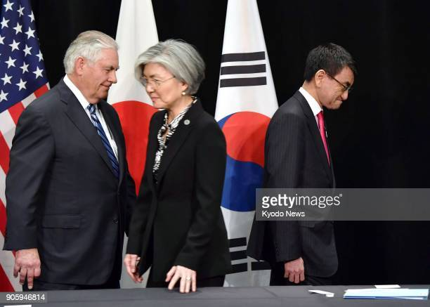 US Secretary of State Rex Tillerson South Korean Foreign Minister Kang Kyung Wha and Japanese Foreign Minister Taro Kono prepare to hold trilateral...