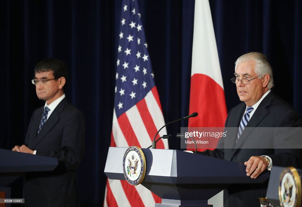 Secretary of State Rex Tillerson (R), speaks about North Korea as Japanese Foreign Minister Taro Kono listens, after a meeting of the U.S.-Japan Security Consultative Committee at the State Department, on August 17, 2017 in Washington, DC.